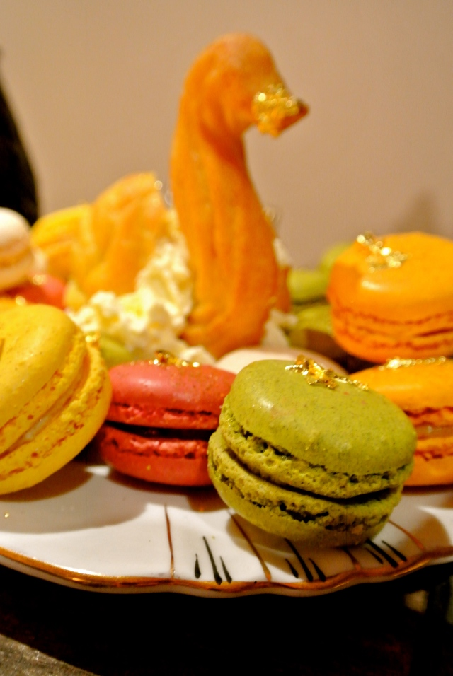 Gold-leaf macarons